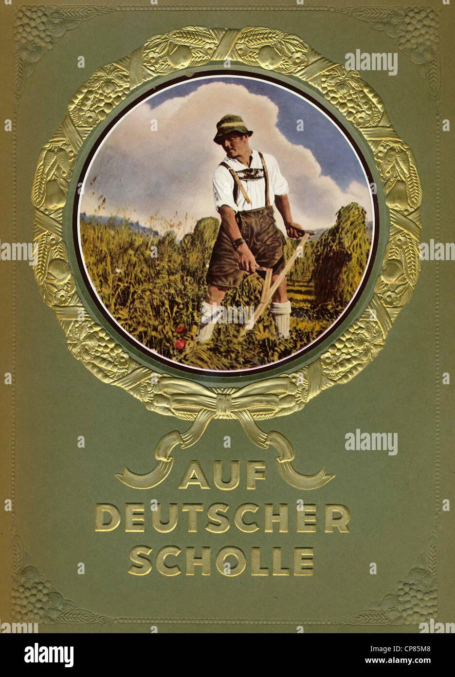 Titelseite, Auf Deutscher Scholle, Sammelbilderalbum, Zigaretten-Bilderdienst, Eckstein, Verlag Nordmark 1935, Deutschland - Stock Image
