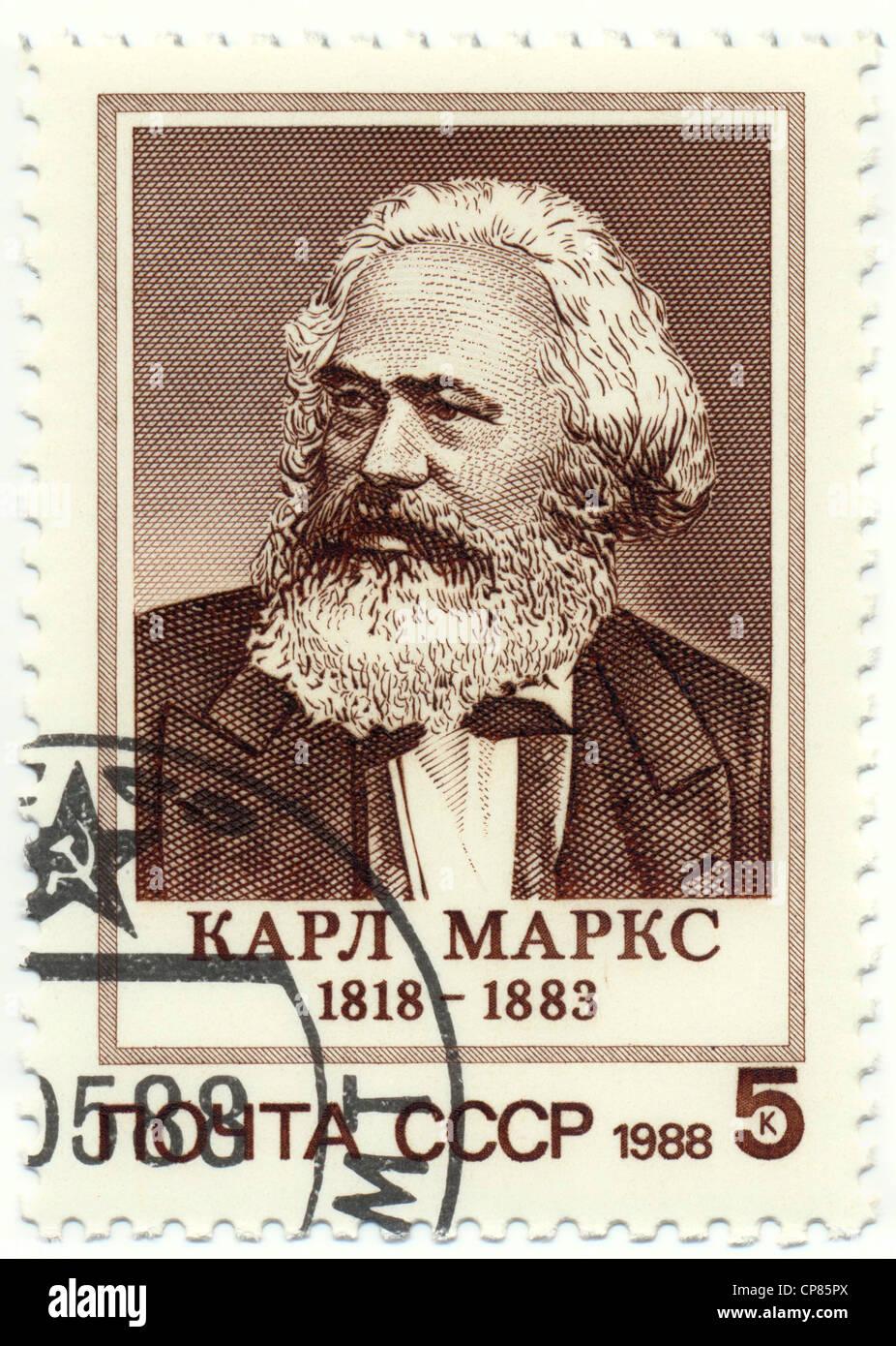 Historic postage stamps of the USSR, political motives, Historische Briefmarke, Karl Marx, 1988, UDSSR - Stock Image
