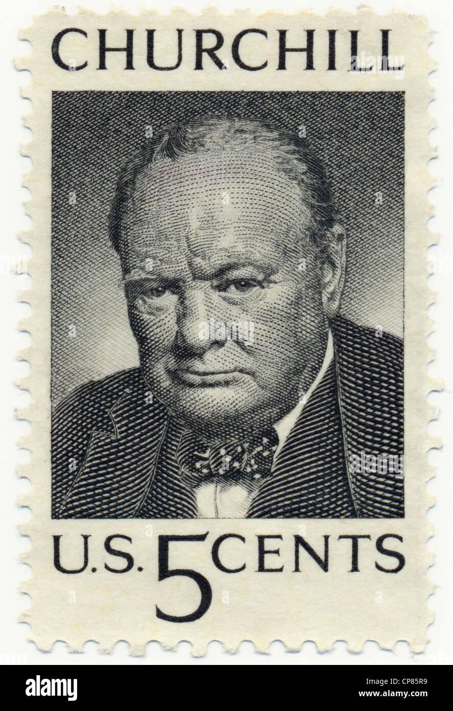 Historic postage stamps, Historische Briefmarken, 5 cent, 1965, zum Tod von Winston Churchill, USA - Stock Image
