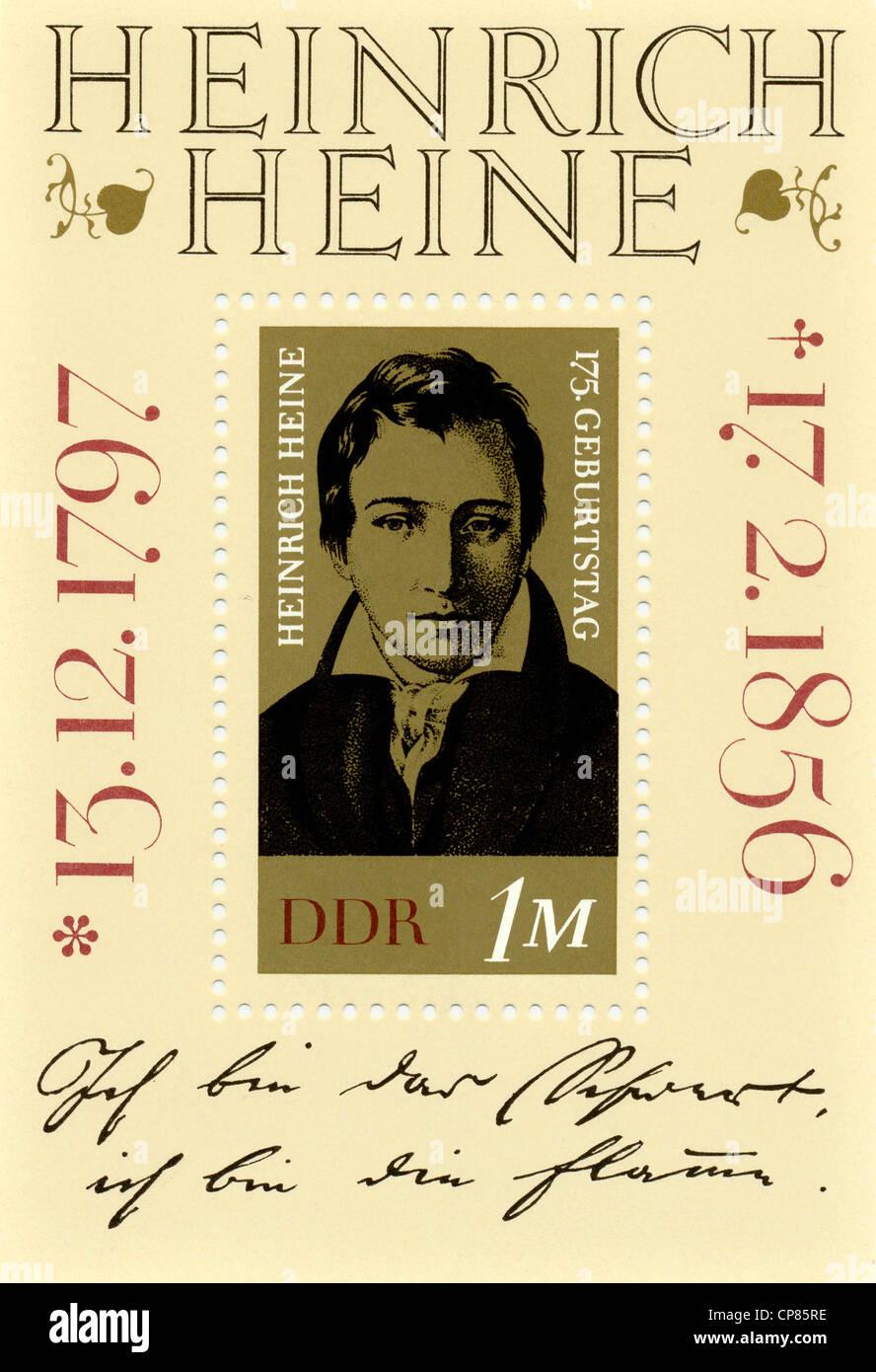Historic postage stamps, GDR, Historische Briefmarke der DDR, Heinrich Heine, Deutsche Demokratische Republik, 1972 - Stock Image