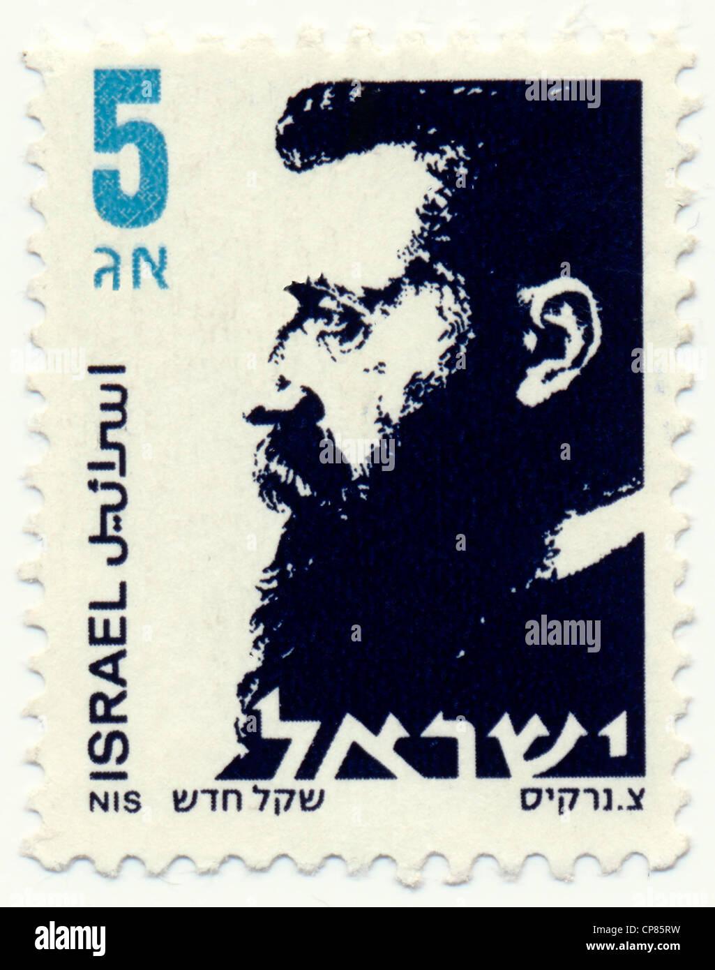 Historic postage stamps from Israel, Historische Briefmarken, Dr. Theodor Herzl, 1986, Israel, Asien - Stock Image