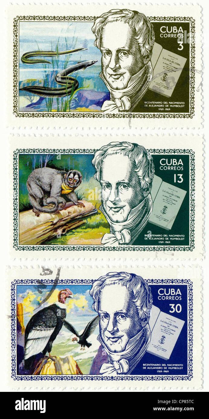 Historic postage stamps from Cuba, Historische Briefmarken, Andenken an Alexander von Humboldt, 1969, Kuba Stock Photo