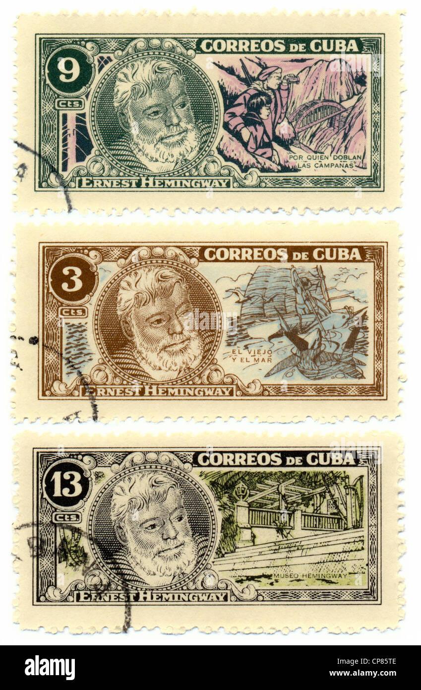 Historic postage stamps from Cuba, Historische Briefmarken, Ernest Hemingway, 1963, Kuba, Karibik Stock Photo