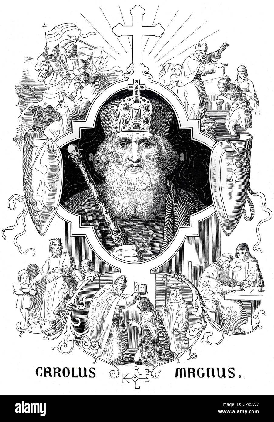 Charles the Great, Carolus Magnus, Charlemagne, historical illustration, Karl der Große oder Carolus Magnus - Stock Image