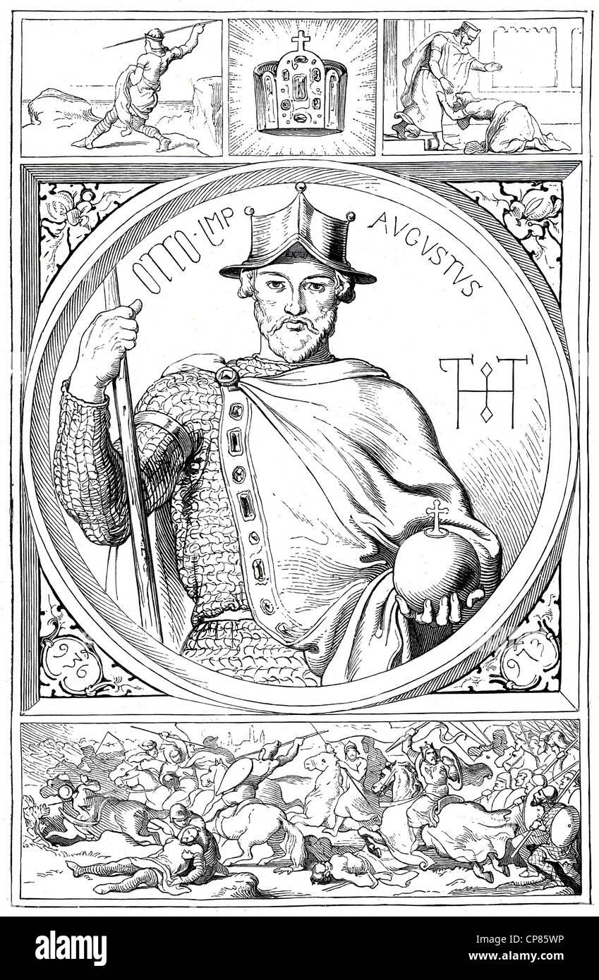 Otto I, the Great, 912 - 973, historical illustration, 19th century, Otto I., der Große (912 - 973) aus dem - Stock Image