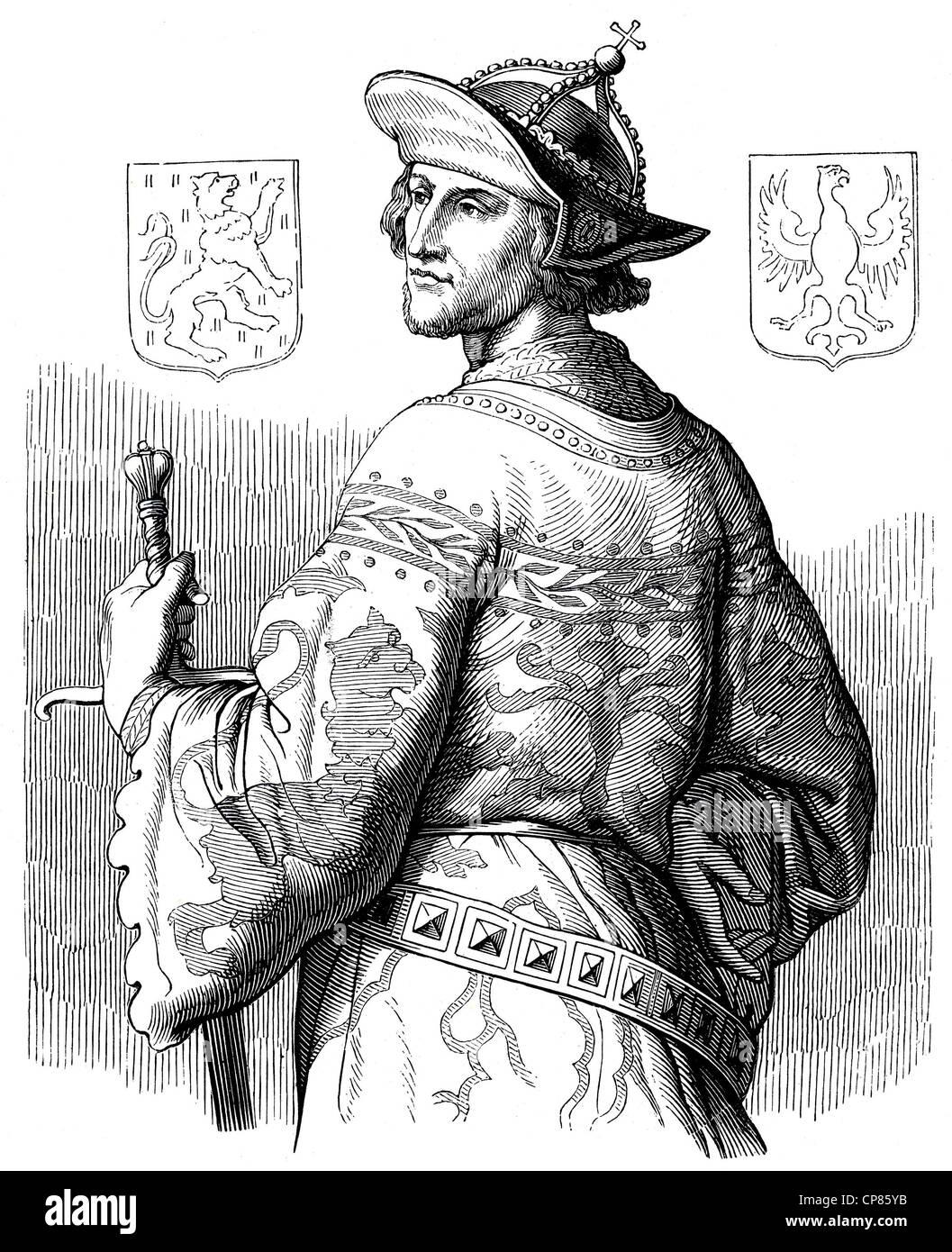 historical illustration , 19th century , Adolf von Nassau (1250 - 1298) aus dem Adelsgeschlecht der Nassauer (Walramische Stock Photo