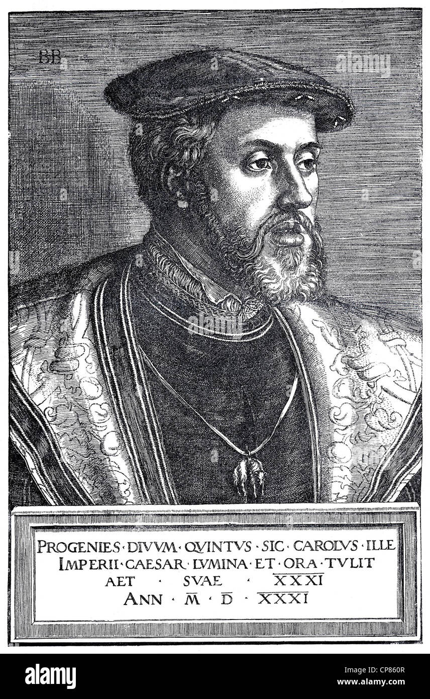 Emperor Charles V, 1500 - 1558, Emperor of the Holy Roman Empire, copper engraving by Barthel Beham, dating from - Stock Image