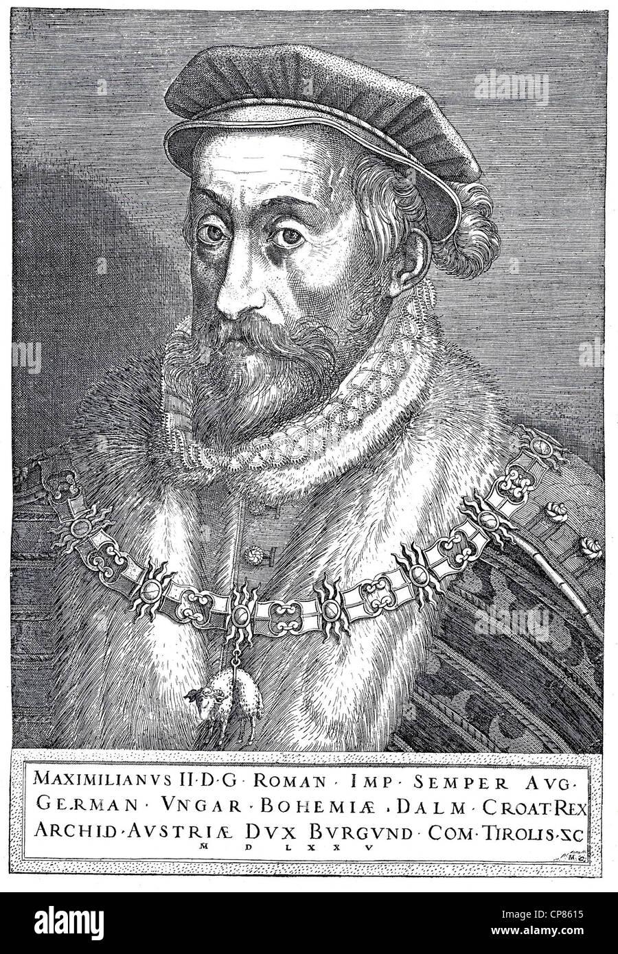 Emperor Maximilian II, 1527 - 1576, copper engraving from 1575, Kaiser  Maximilian II