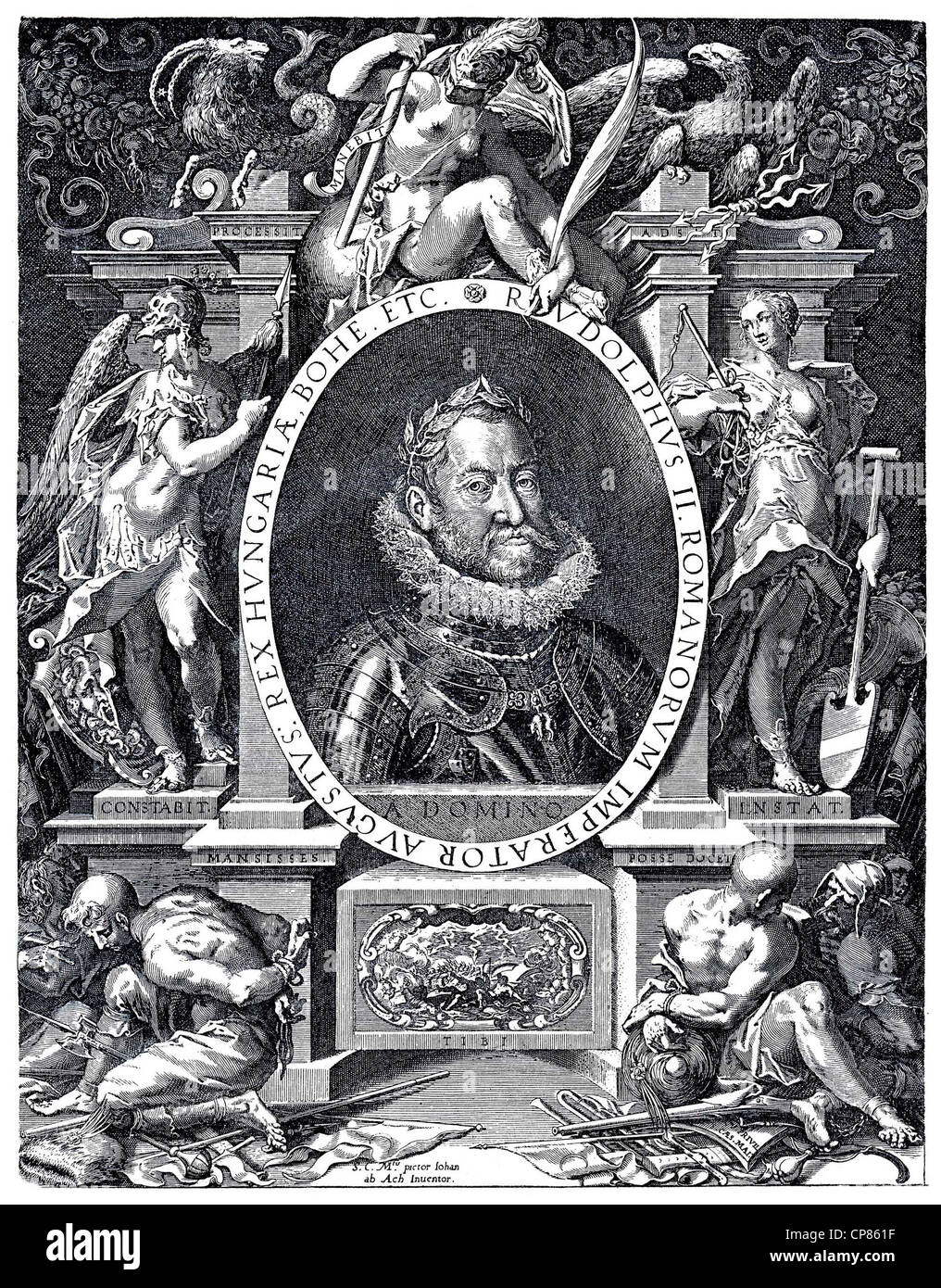 Allegory of the reign of Emperor Rudolph II, 1552 - 1612, copper engraving by Egidius Sadeler from the 17th Century, - Stock Image