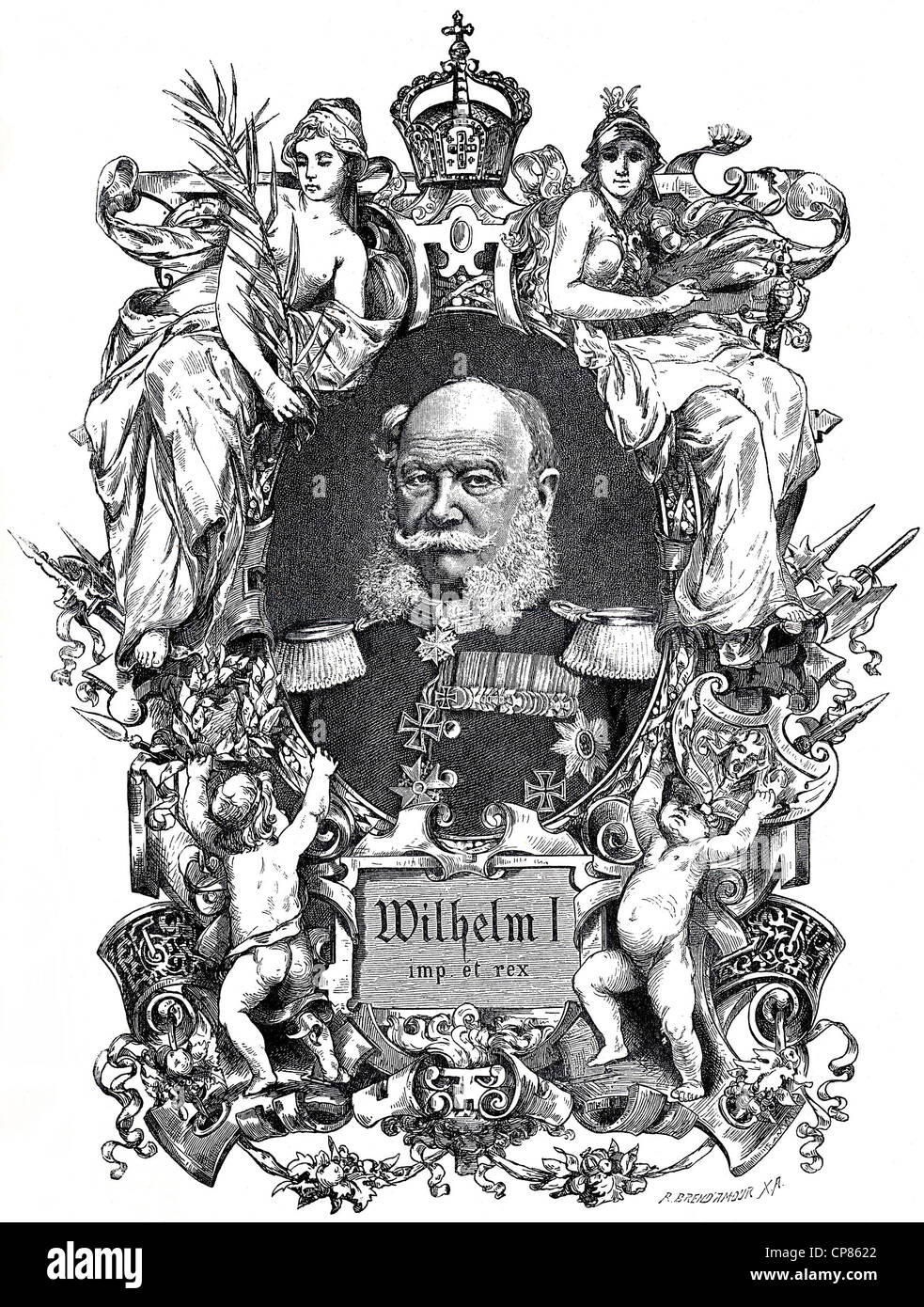 Wilhelm I, Wilhelm Friedrich Ludwig of Prussia, 1797 - 1888, historical copper engraving from the 19th Century, - Stock Image
