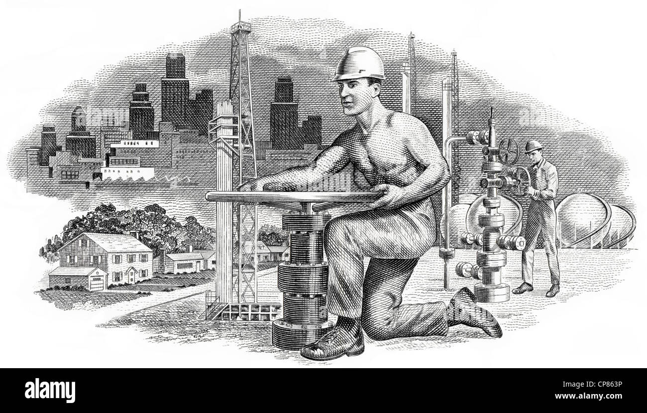 Illustration in the vignette of a historical stock certificate of an oil and gas company, a man opening a valve - Stock Image