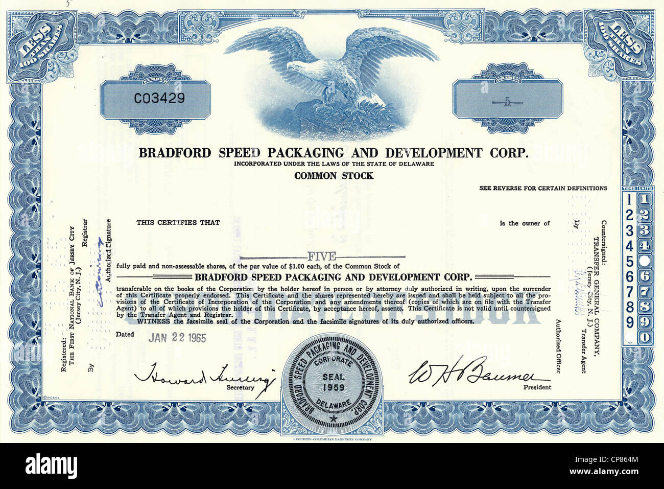 Historical stock certificate of Bradford Speed Packaging and Development Corporation, a manufacturer of packaging - Stock Image