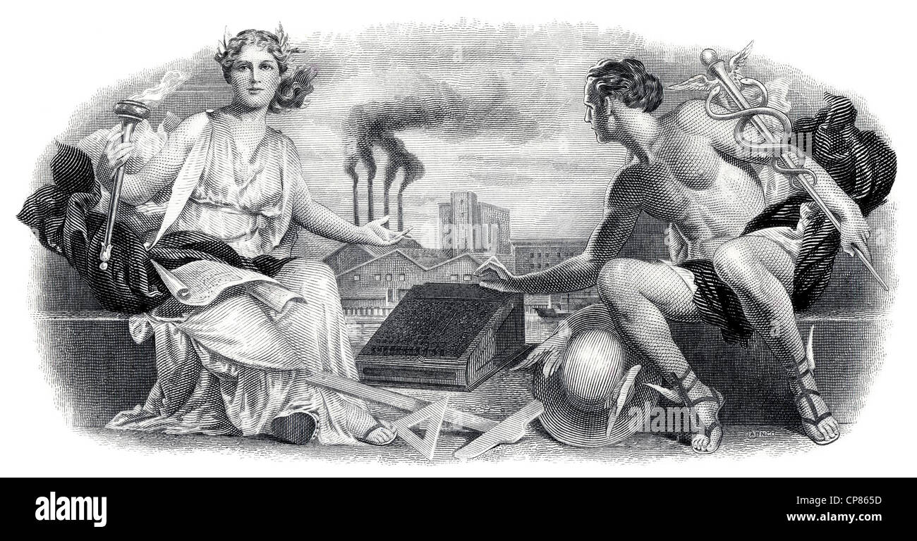 Illustration in the vignette of a historical stock certificate, the Greek gods Olympia and Hermes sitting with a - Stock Image