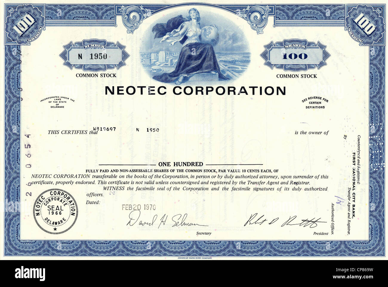 Historical stock certificate, Neotec Corporation, infrared technology for industrial and agricultural feed, Delaware, - Stock Image