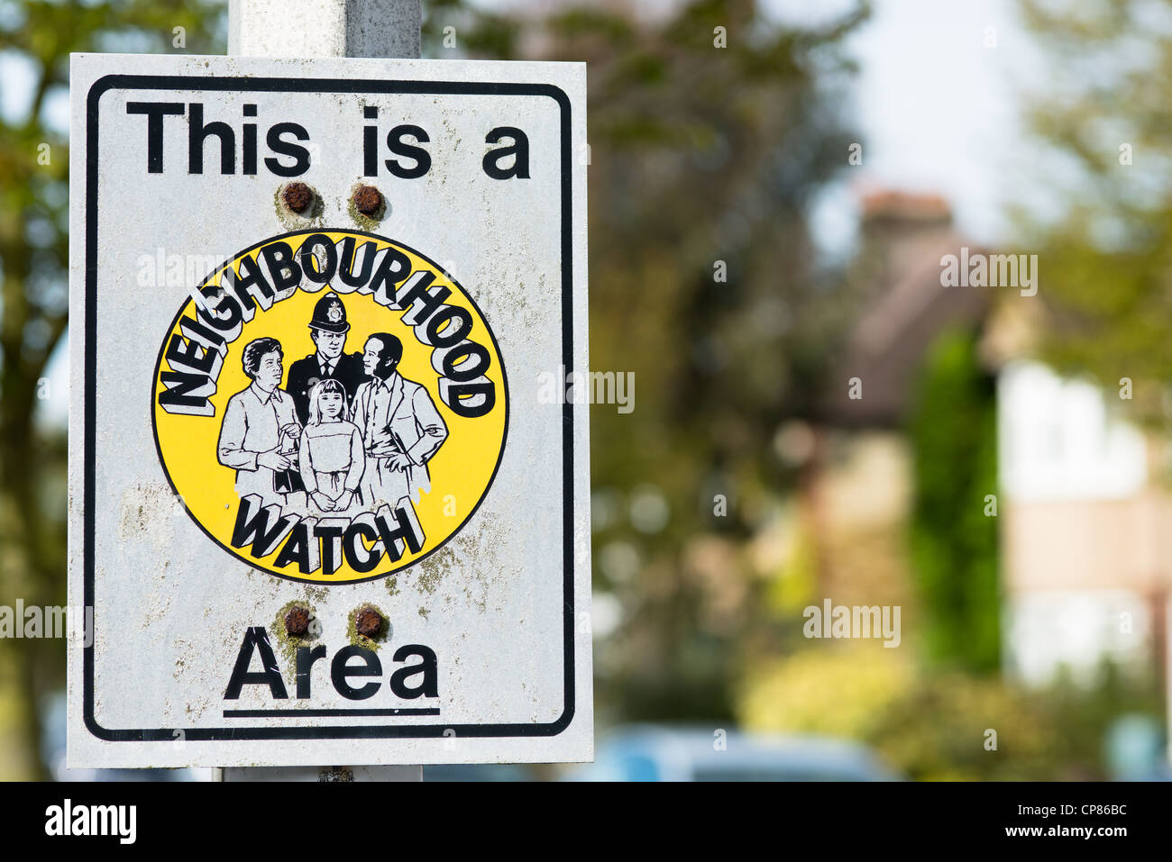 Neighbourhood Watch sign in Cambridge suburban street. UK. - Stock Image