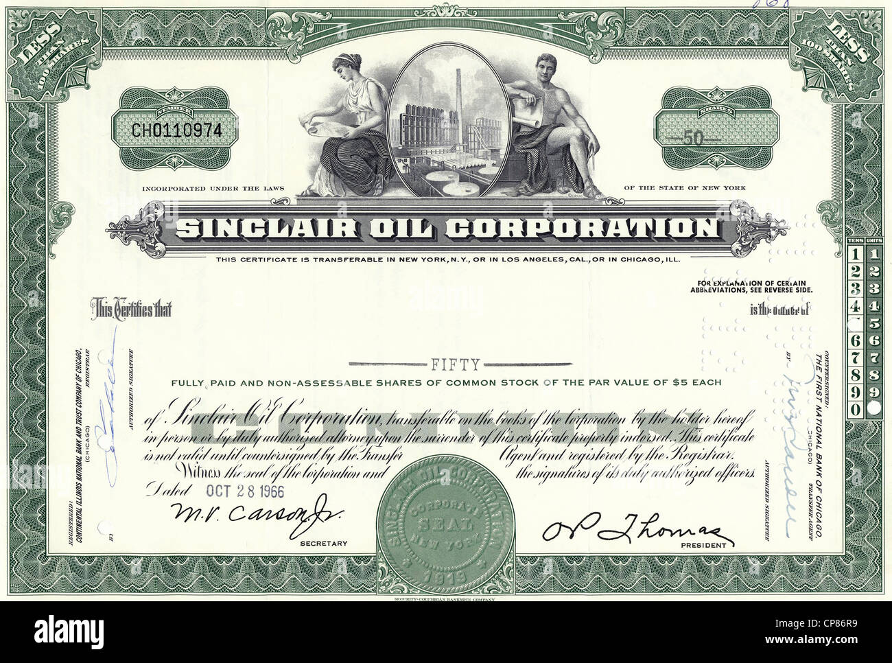 Historical stock certificate of an oil and gas company, oil