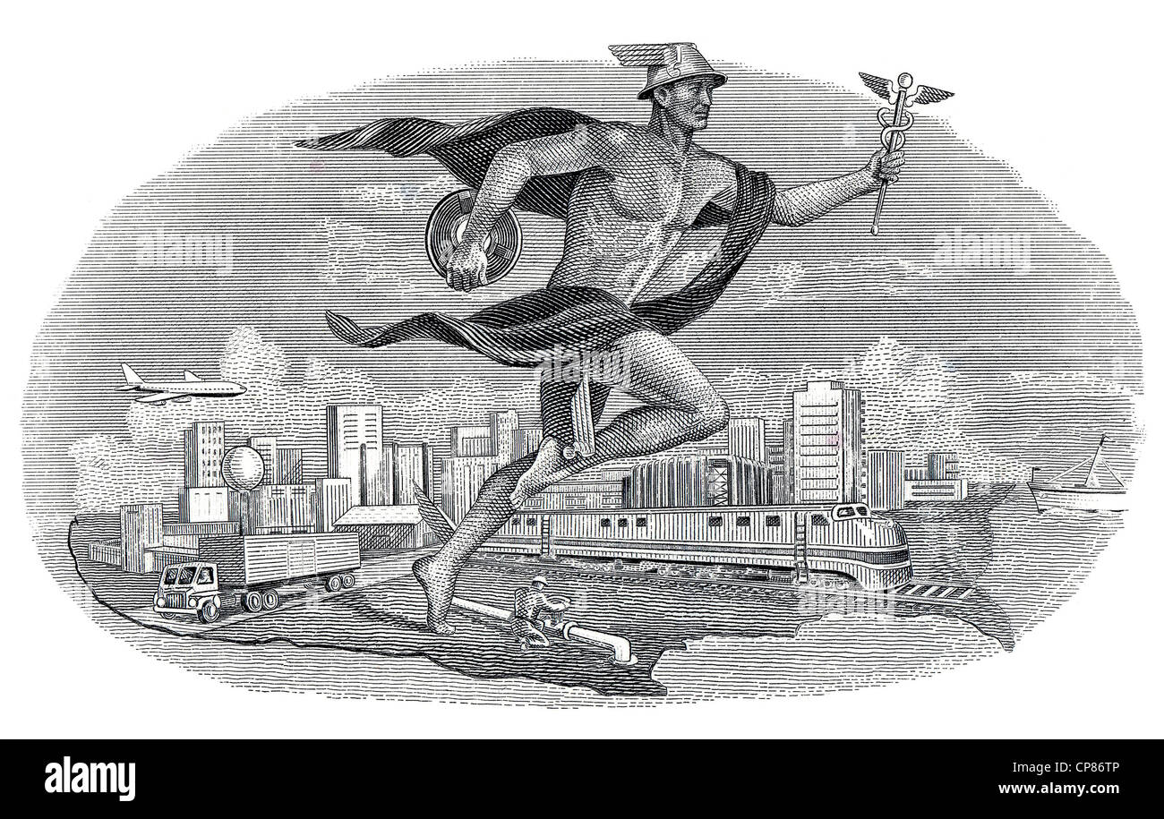 allegorical representation, Hermes, messenger of the Gods running in front of a modern cityscape, US-american railroad - Stock Image