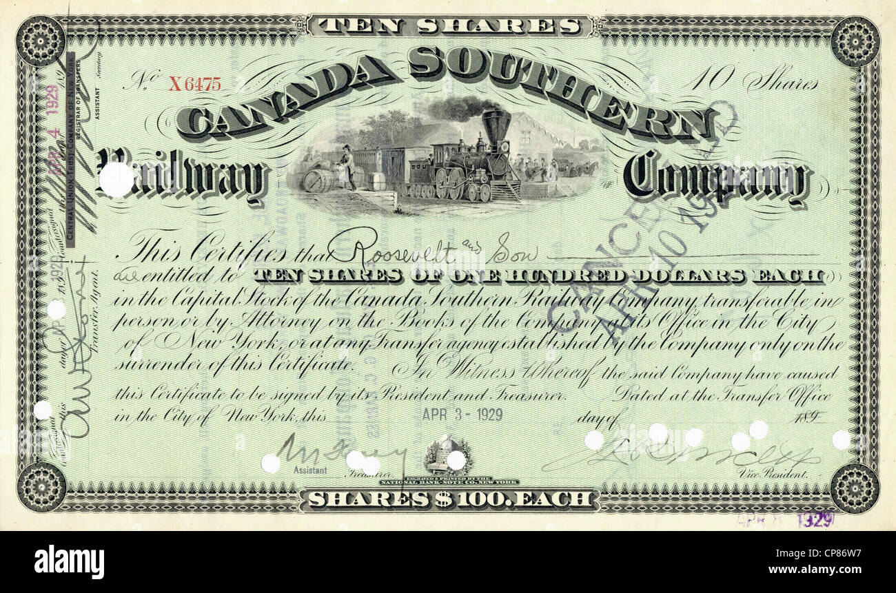 Historic share certificate, Canada, Southern Railroad Company, 1929, New York, USA, Historische Aktie, Canada Southern - Stock Image