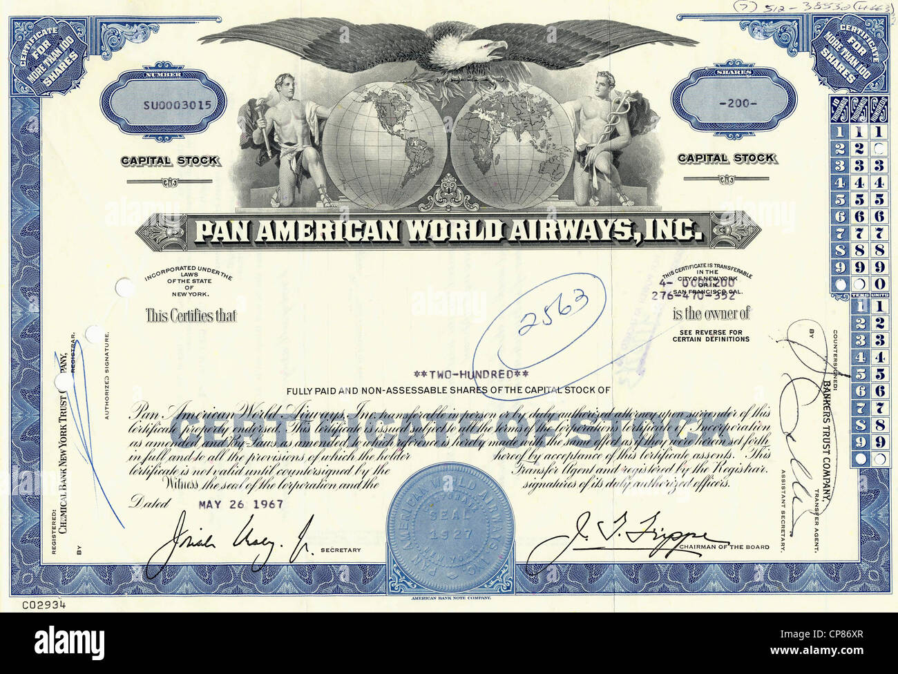 Historical stock certificate, allegorical representation of a bald eagle with two sides of the globe and Greek Olympian - Stock Image