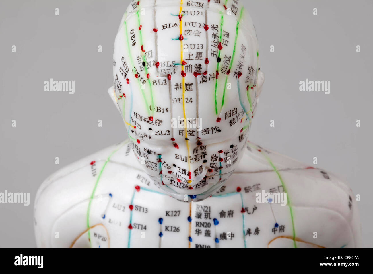 A female model with marked acupuncture points, Chinese characters on