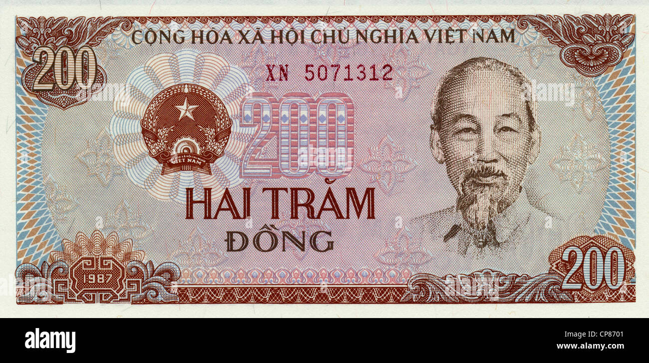 Banknote aus Vietnam, Ho Chi Minh, 200 Dong, 1987, Banknotes from Vietnam - Stock Image