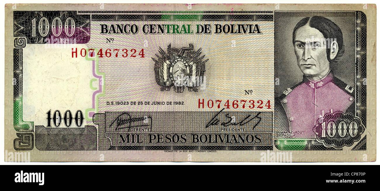 Historische Banknote, 1000 Peso, Dona Juana Azurduy de Padilla, 1982, Bolivien, Banknote from Bolivia - Stock Image