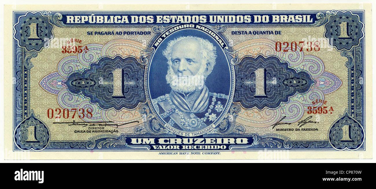 Historische Banknote, 1 Cruzeiro, Joaquim Marques Lisboa, der Marquis von Tamandare, 1958, Brasilien, Südamerika, - Stock Image