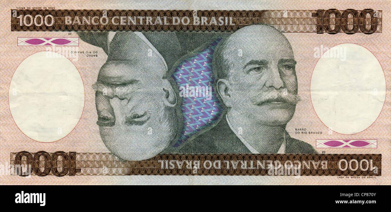 Historische Banknote, 1000 Cruzeiro, Jose Maria da Silva Paranhos, Baron von Rio Branco, 1984, Brasilien, Südamerika - Stock Image