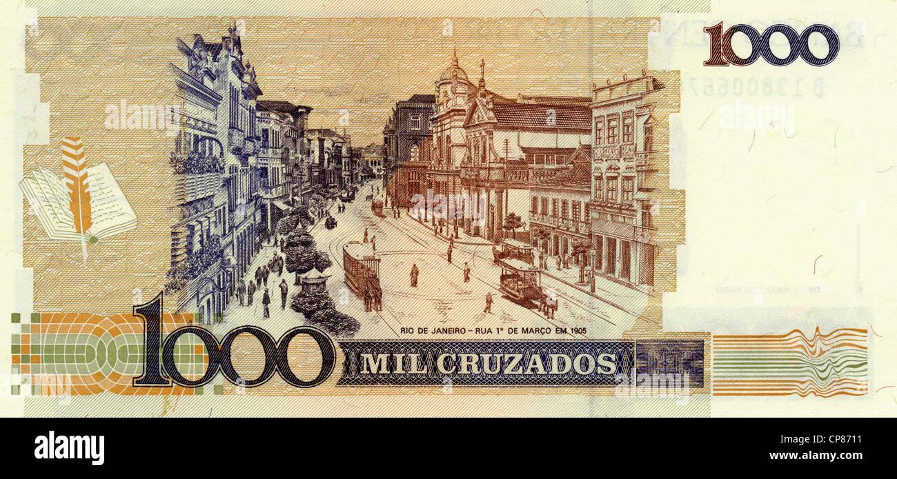 Banknote aus Brasilien, 1000 Cruzados, 1986, Rio de Janeiro, Zua de Marco, 1905 - Stock Image