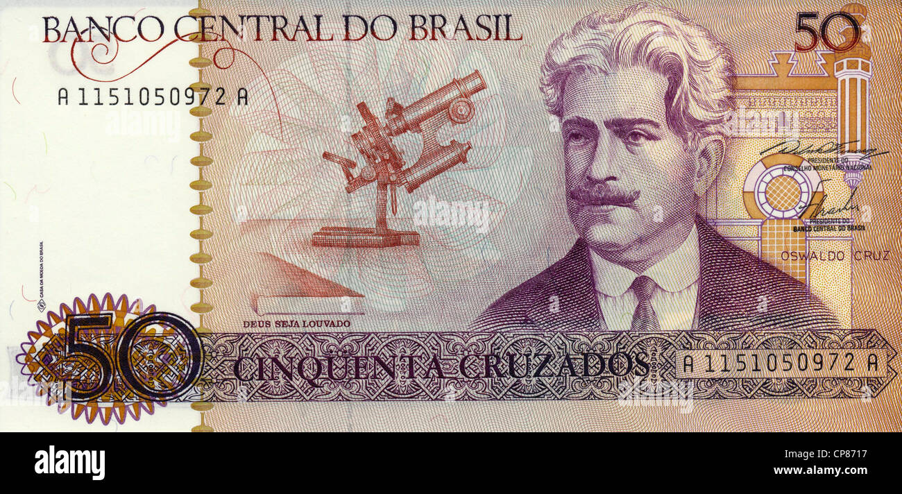 Banknote aus Brasilien, 50 Cruzados, Oswaldo Cruz, 1986, Brasil - Stock Image
