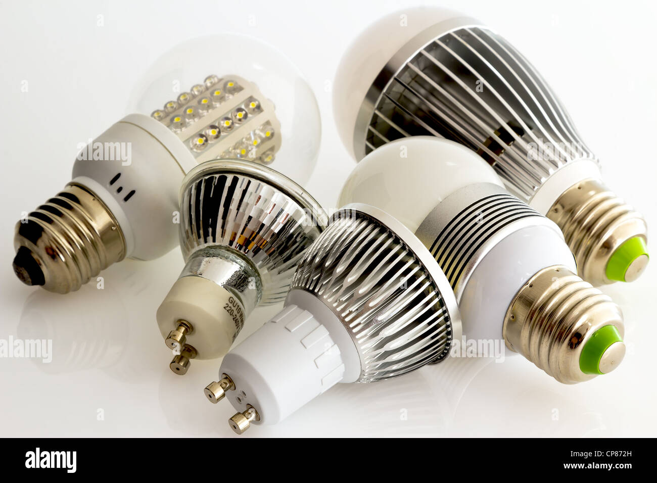 LED lamps E27 and GU10 without cooling and new cooling technology depending on the lamp power - Stock Image
