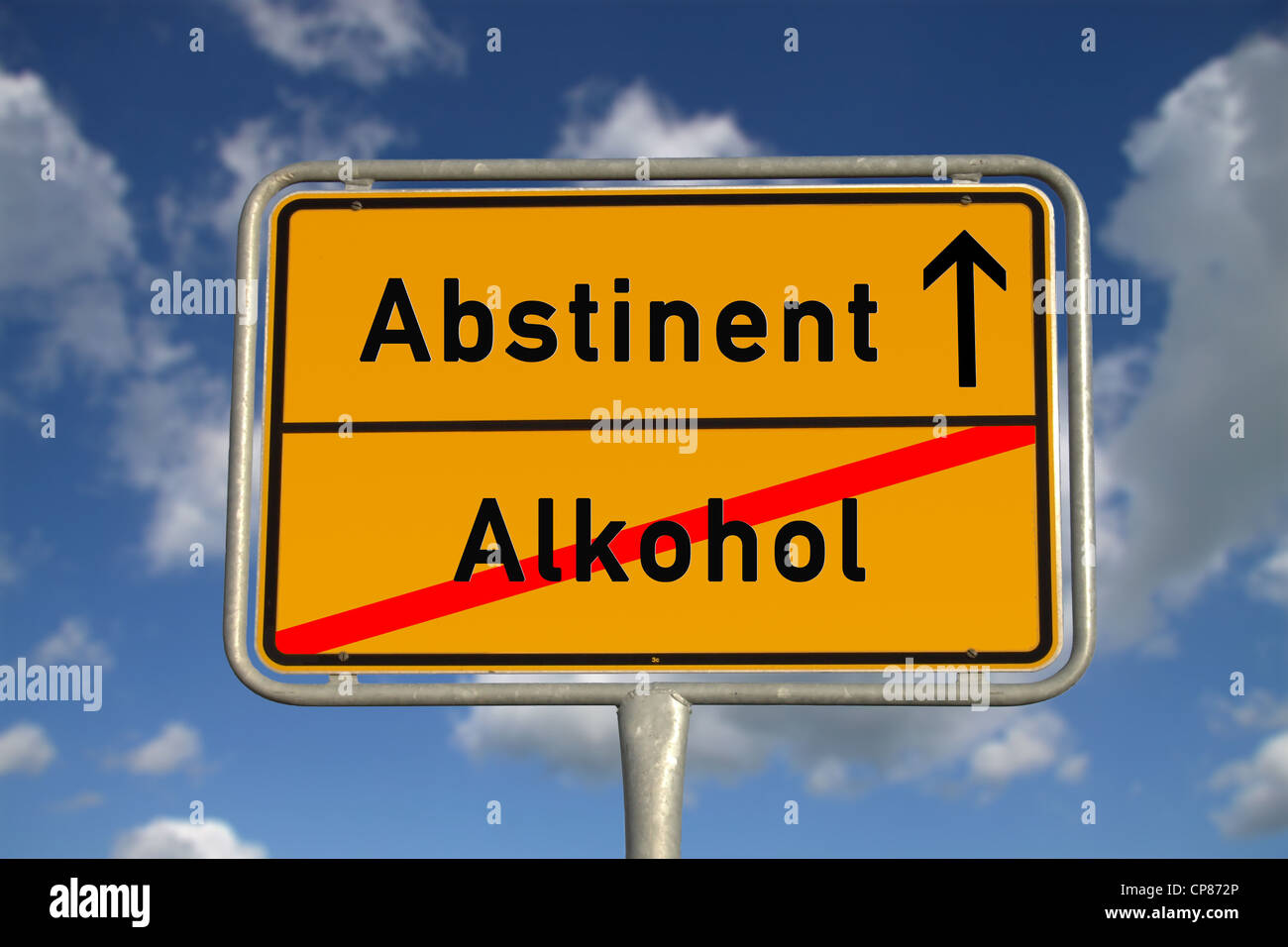 German road sign abstinent alcohol with blue sky and white clouds - Stock Image