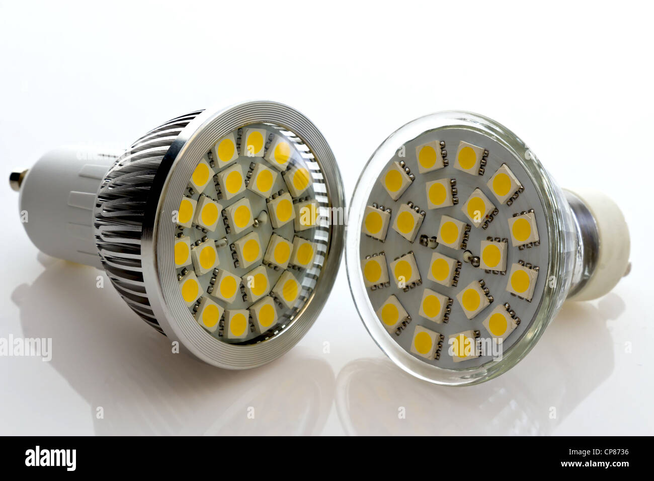 warm white LED lamps without cooling and with a new cooling technology - Stock Image