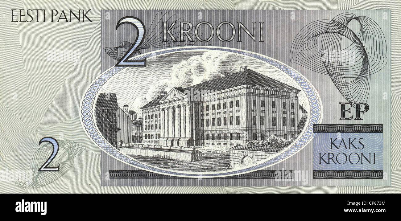 Banknote aus Estland, 2 Kronen, Die Universität Tartu, 2006, Banknote from Estonia, 2 kroon, University of - Stock Image