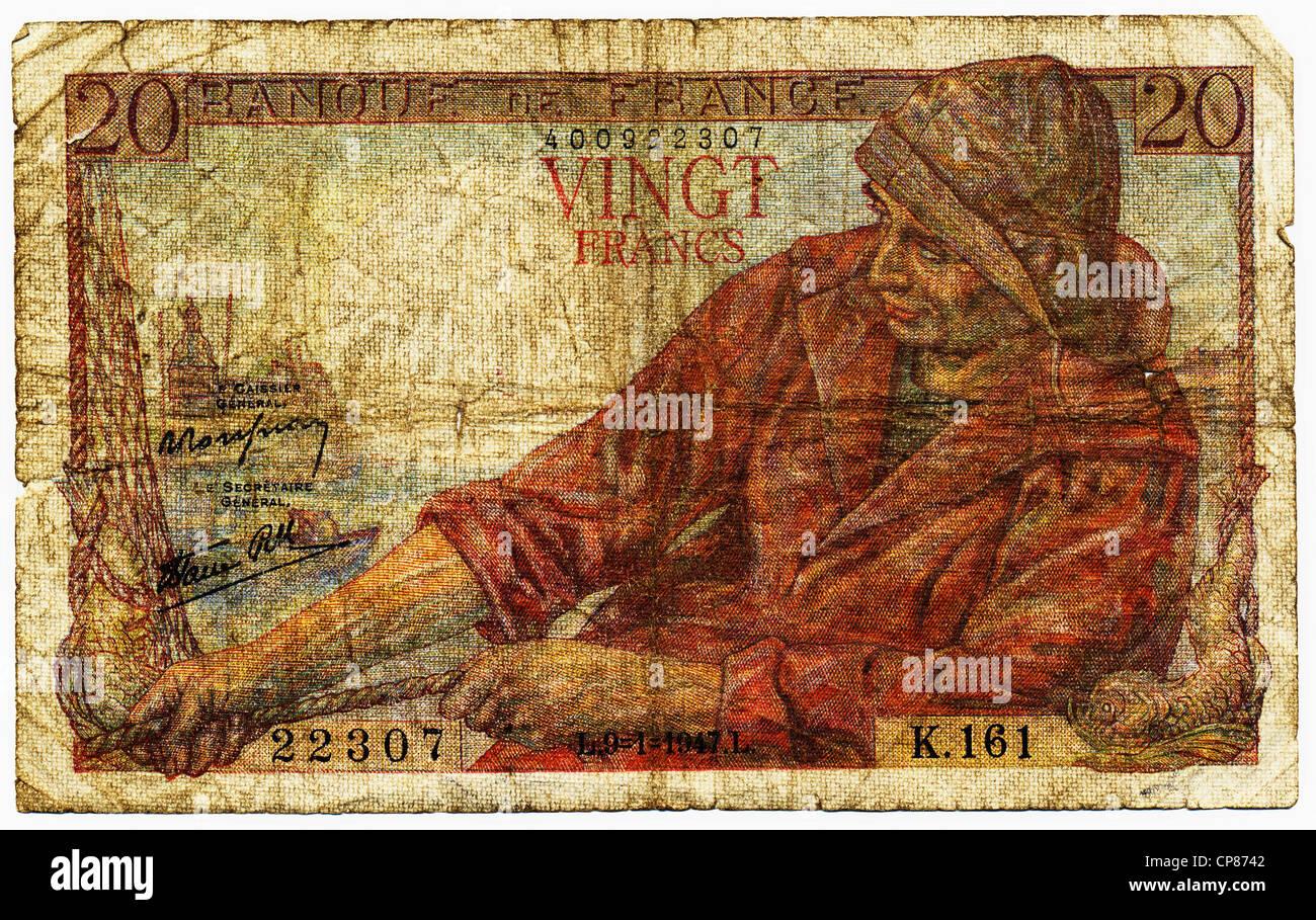 Historische Banknote, 20 Franc, 1947, Motiv Fischer, Frankreich, Europa - Stock Image