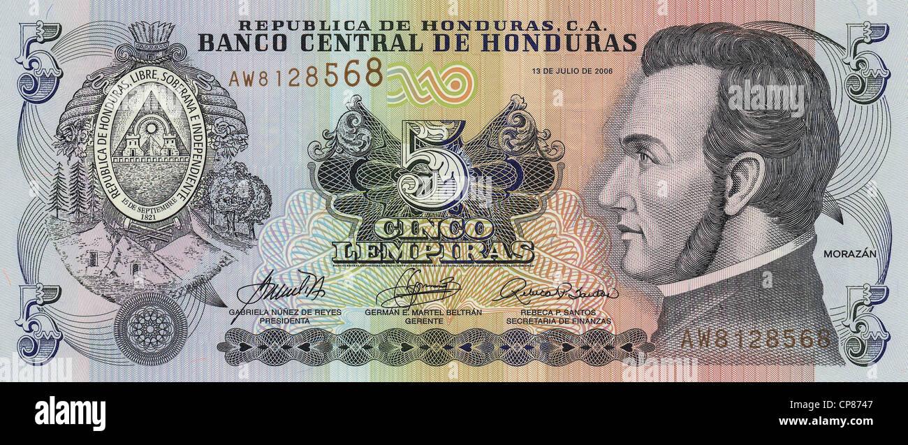 Banknote aus Honduras, 5 Lempira, General José Francisco Morazán Quezada, 2006 - Stock Image