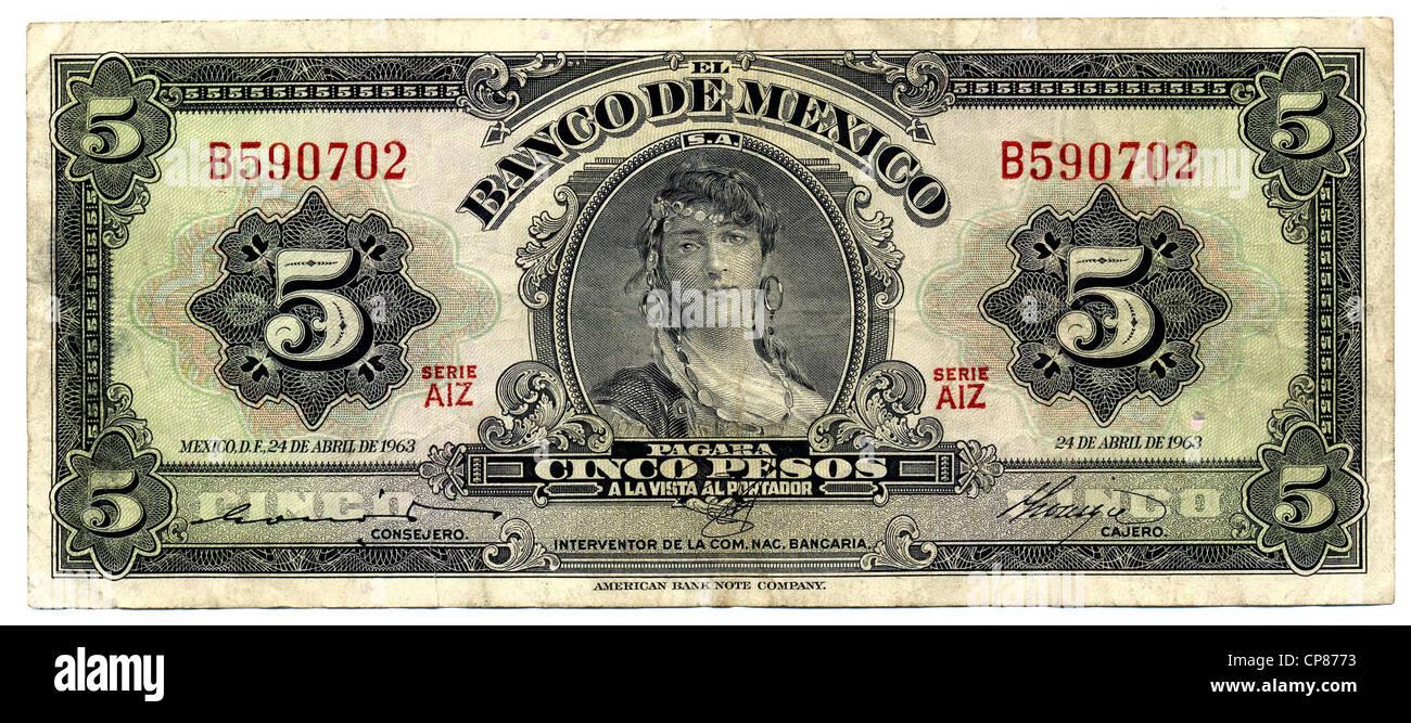 Historische Banknote, Mexiko, 5 Peso, 1963 - Stock Image