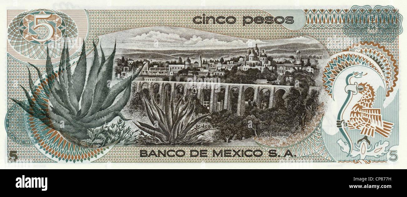 Banknote, 5 Peso, Mexiko, Santiago de Querétaro, 1969 - Stock Image