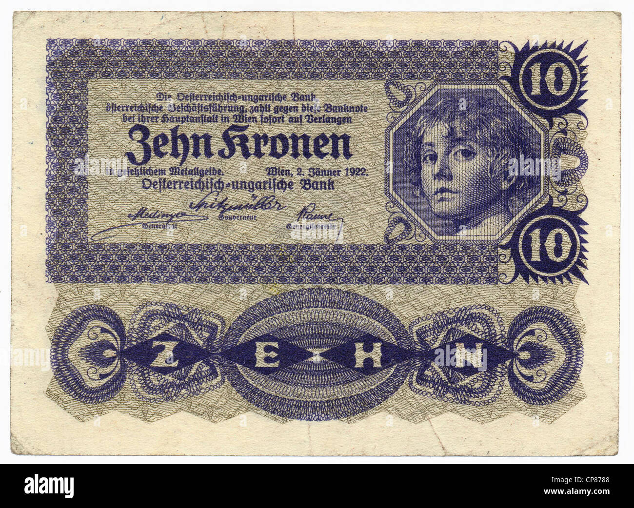 Historic banknote, Austria, Austro-Hungarian Bank, 10 koronas - Stock Image
