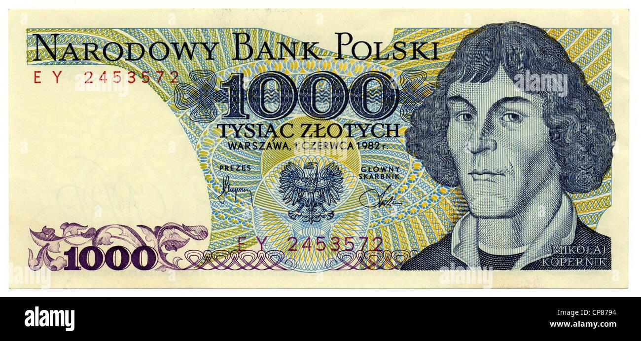 Historische Banknote, 1000 Zloty, Nikolaus Kopernikus, 1982, Polen, Europa - Stock Image