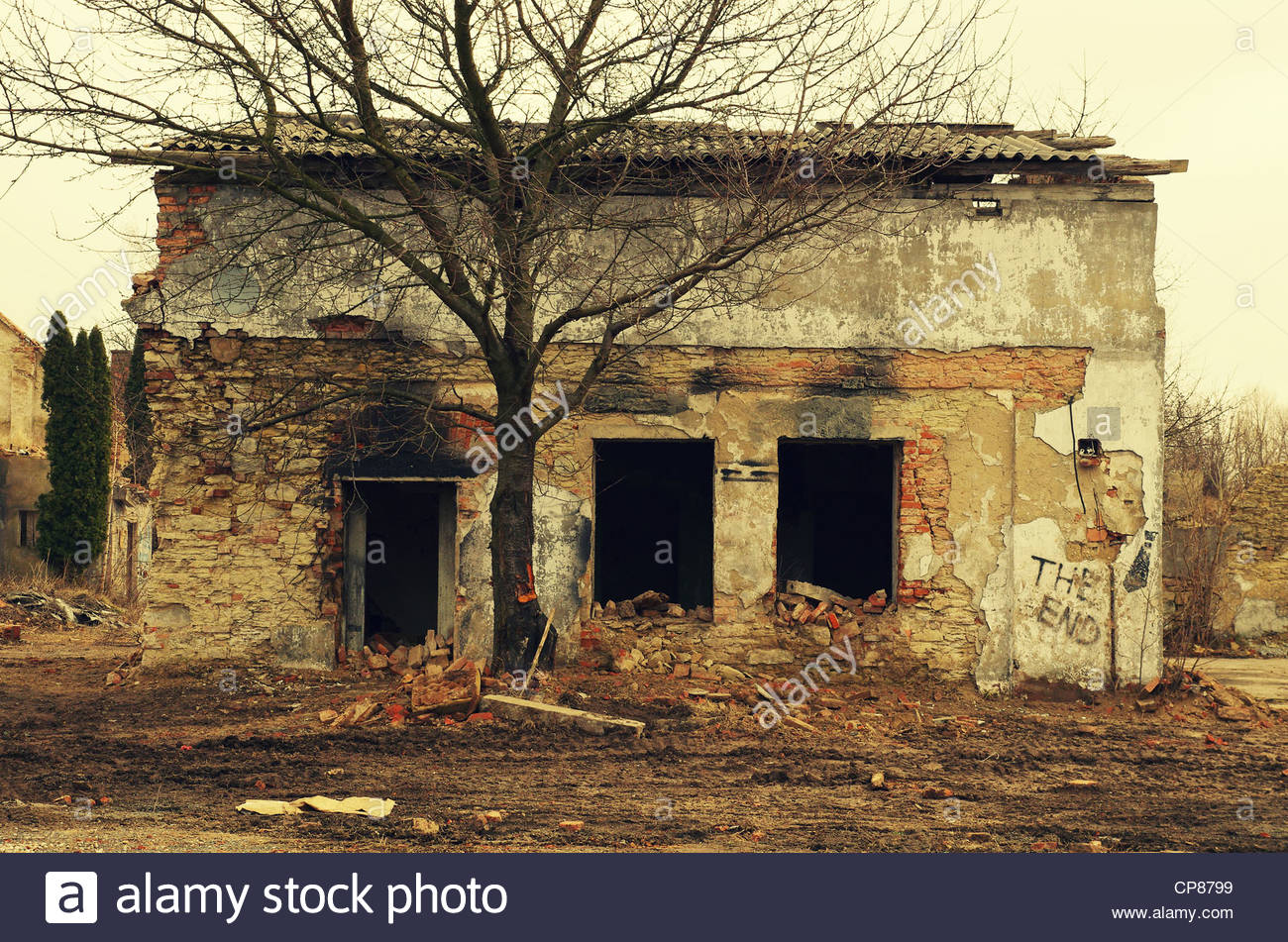Burnt out house (former Red Army garrison town) Stock Photo