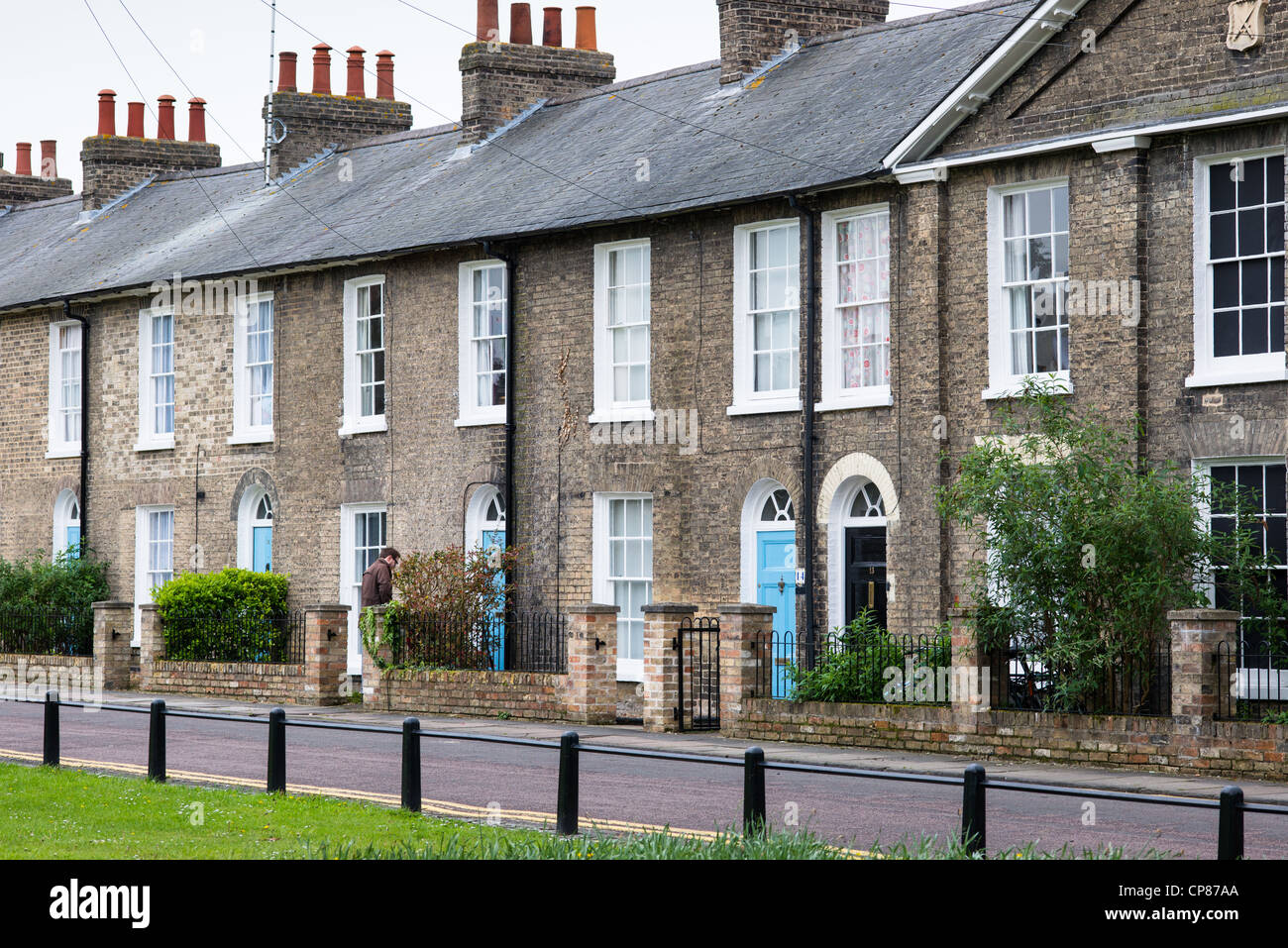 Victorian Terrace houses at New Square, Cambridge, England. - Stock Image