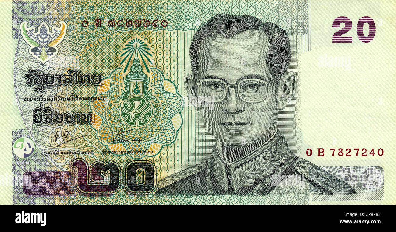 Historische Banknote, 20 Baht, König Ananda Mahidol (Rama VIII.), 2003, Thailand, Asien - Stock Image