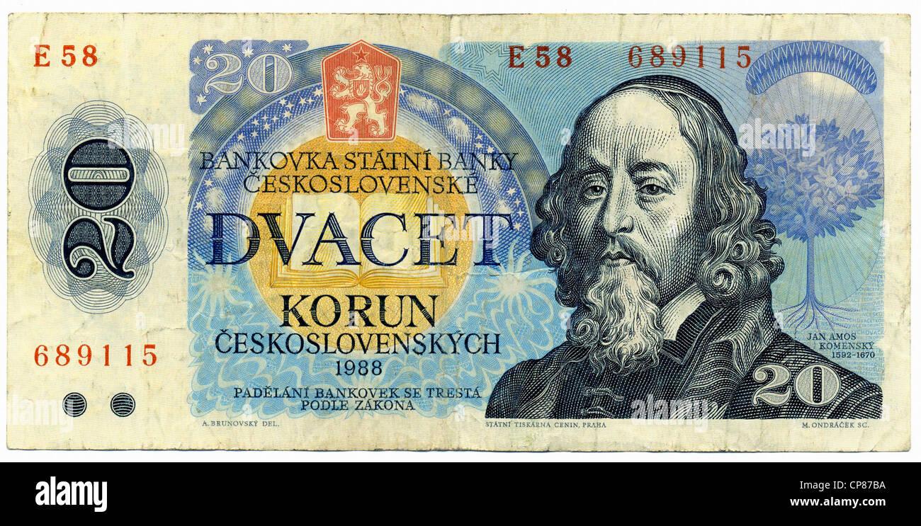 Historic banknote, 20 Czech koruna, image of the the philosopher, theologian and educator Johann Amos Comenius, - Stock Image
