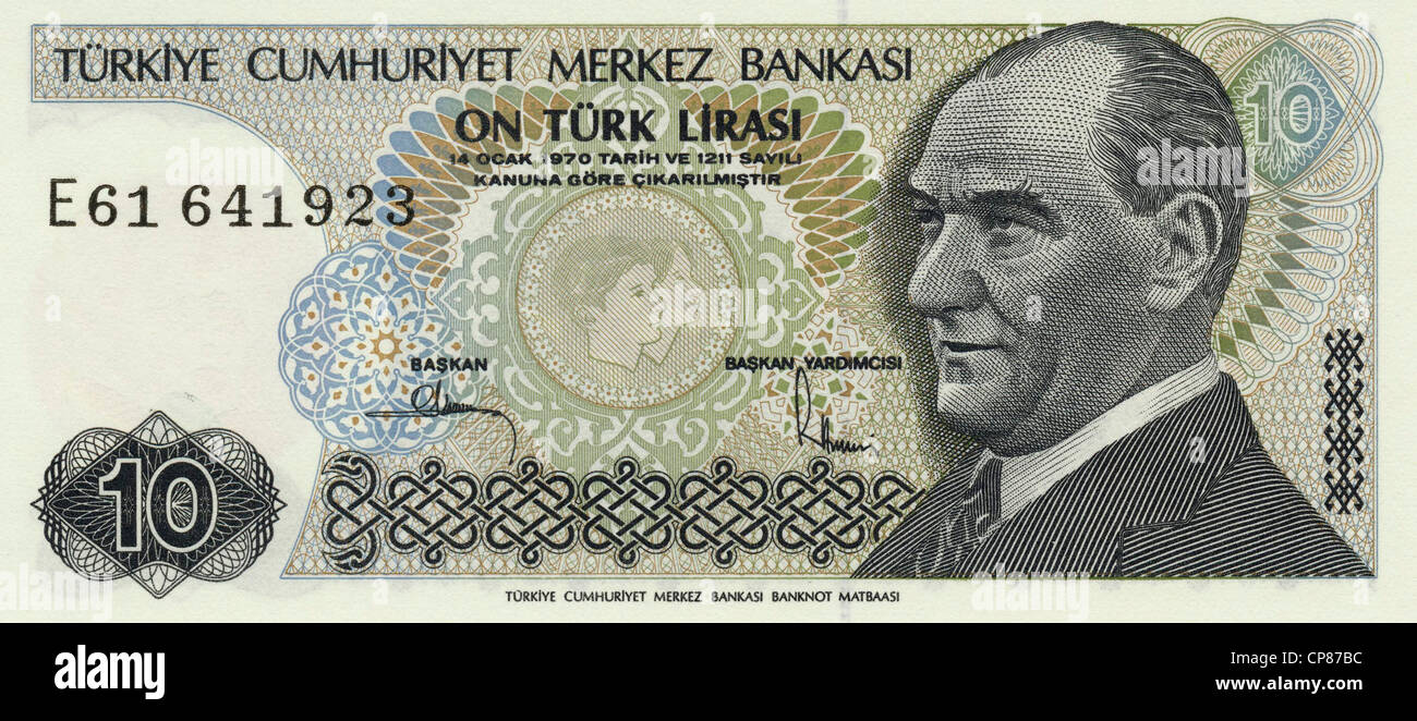 Banknote aus der Türkei 10 Lira, Kemal Atatürk, 1982, Bank note from Turkey - Stock Image