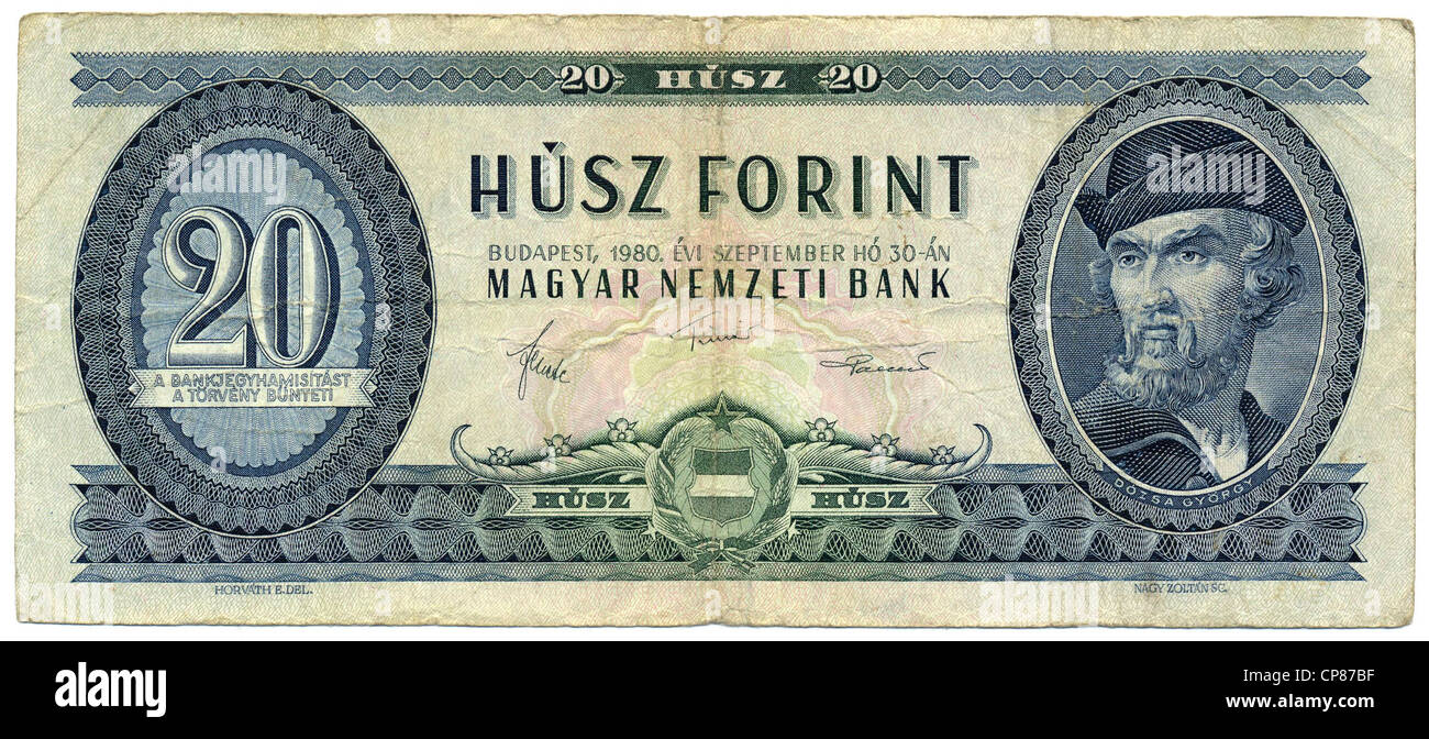 Historic banknote, 20 Hungarian forint, image of Dózsa Gyoergy, leader of the Hungarian peasant revolt, Hungary - Stock Image