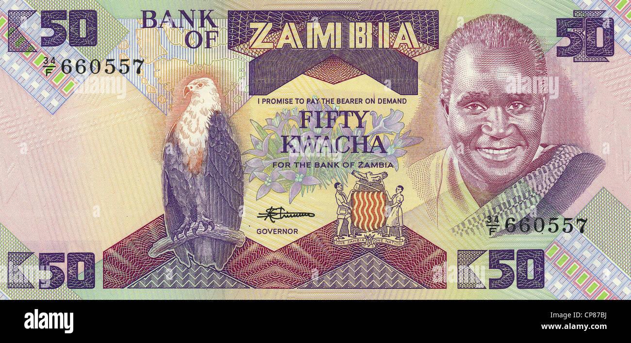 Banknote aus Sambia, 50 Kwacha, Kenneth David Kaunda, 1986, Banknote from Zambia, 50 kwacha, Kenneth David Kaunda, - Stock Image