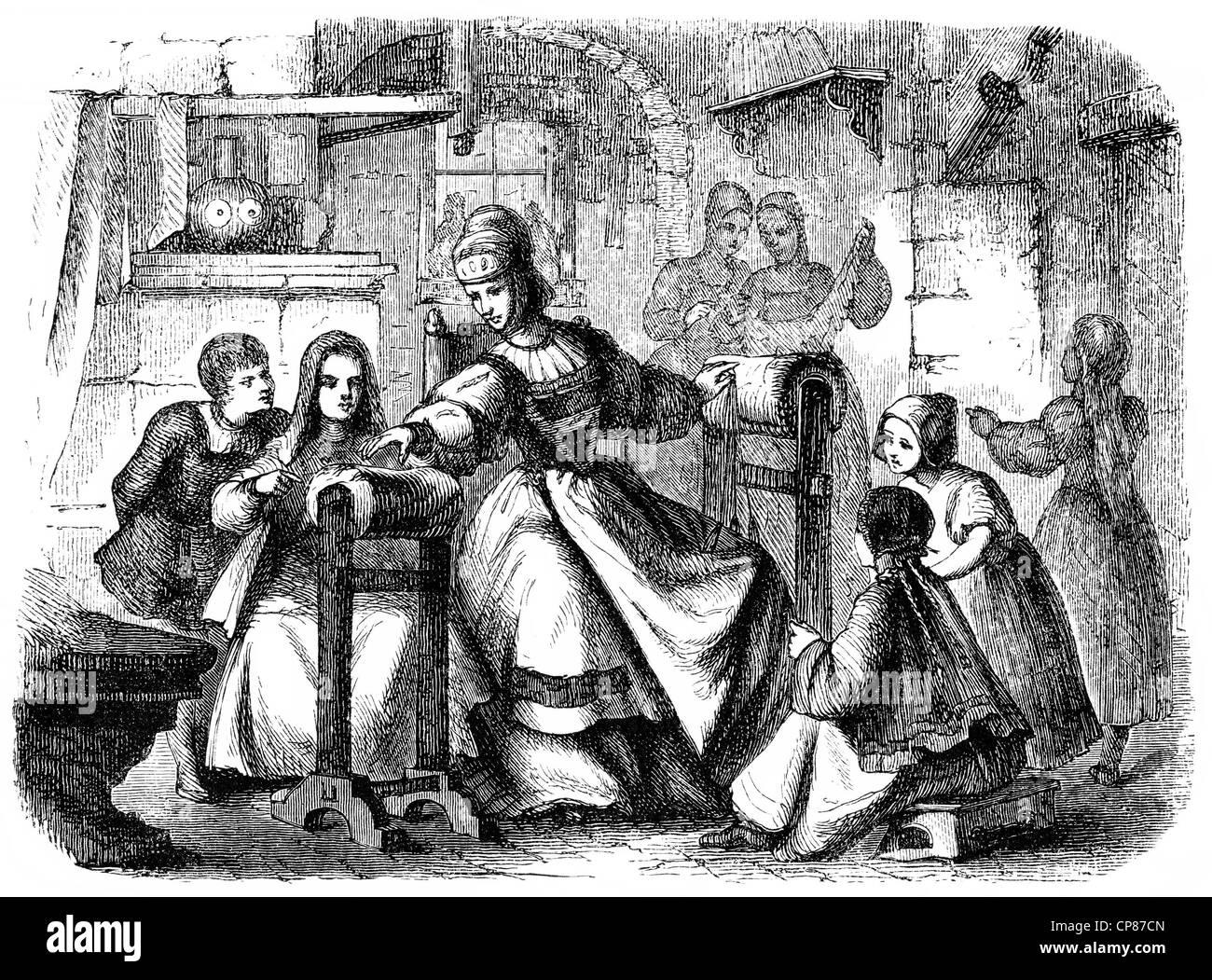 The publisher Barbara Uttmann or Uthman, 1514 - 1575, furthered the bobbin lacemaking in the Erzgebirge region, Stock Photo