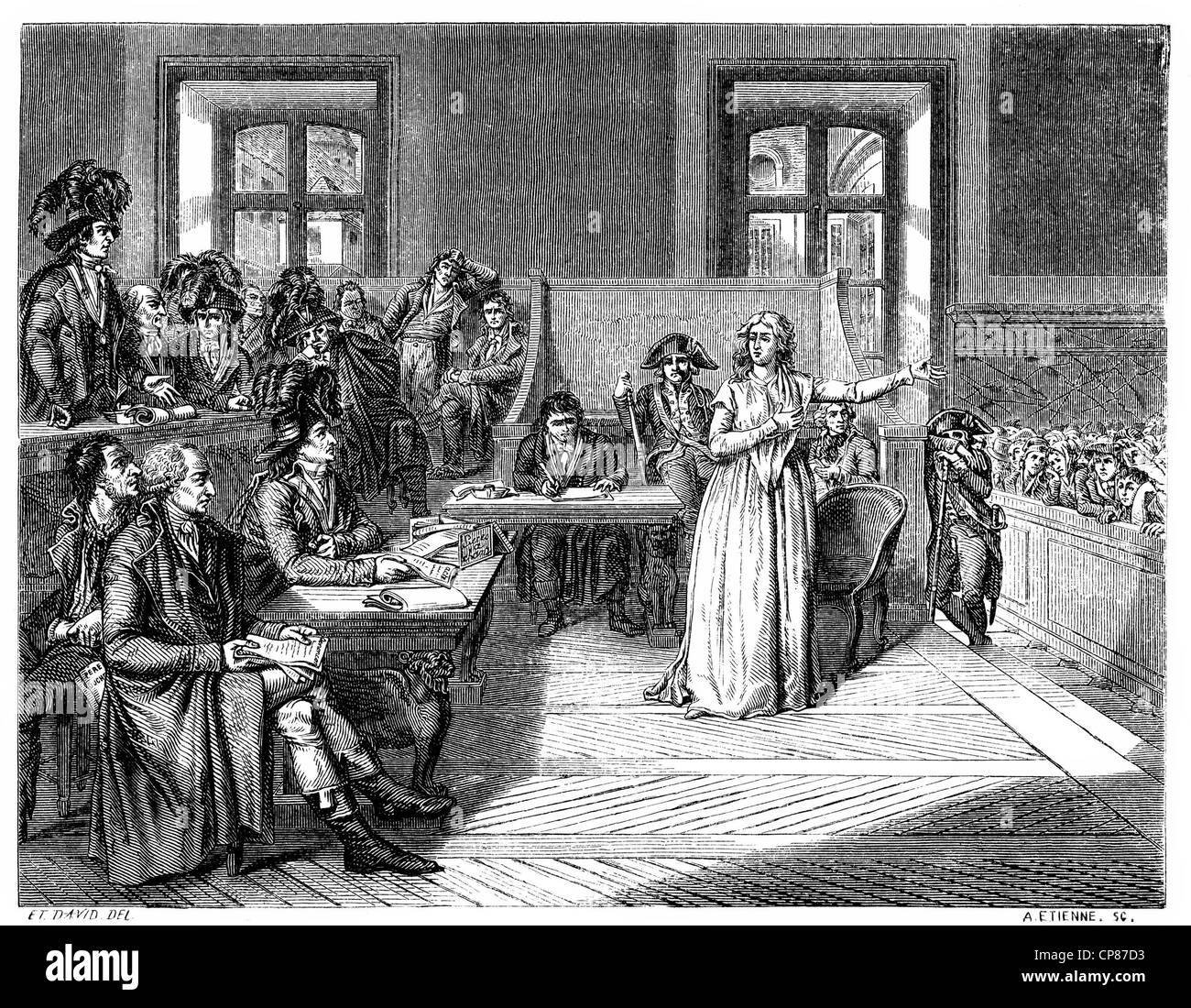 Marie Antoinette or Maria Antonia Josepha Johanna, 1755 - 1793, Queen of France, on trial, French Revolution, historical - Stock Image