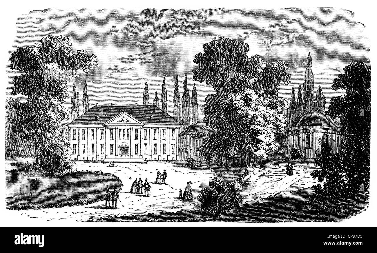 Schloss Hohenzieritz castle in Mecklenburg-Western Pomerania, Germany, Europe, historical engraving, 19th Century - Stock Image